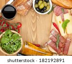 red wine with cheese  olives ... | Shutterstock . vector #182192891