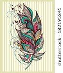 vintage bird feather | Shutterstock .eps vector #182195345