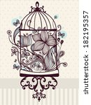 vintage birdcage with flowers | Shutterstock .eps vector #182195357