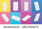 white mobile smartphone mockup... | Shutterstock .eps vector #1821954671