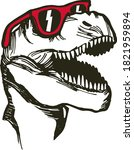 vector illustration of dinosaur ... | Shutterstock .eps vector #1821959894