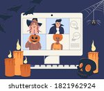 online holiday party. people... | Shutterstock .eps vector #1821962924