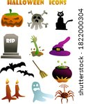 halloween scary  icons set... | Shutterstock . vector #1822000304