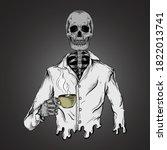 skeleton drinks coffee artwork... | Shutterstock .eps vector #1822013741