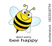 happy bee vector illustration...   Shutterstock .eps vector #1822018754