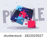 vector illustration of puzzle... | Shutterstock .eps vector #1822025027