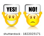 yes no vector signs isolated on ... | Shutterstock .eps vector #1822025171