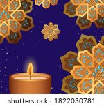 happy diwali candle and gold... | Shutterstock .eps vector #1822030781