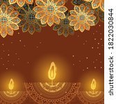 happy diwali candles and gold... | Shutterstock .eps vector #1822030844