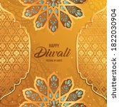 happy diwali gold flowers and... | Shutterstock .eps vector #1822030904