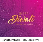happy diwali on purple with... | Shutterstock .eps vector #1822031291