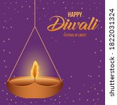 happy diwali hanging candle on... | Shutterstock .eps vector #1822031324