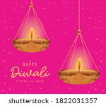 happy diwali hanging candles on ... | Shutterstock .eps vector #1822031357