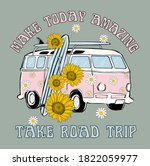 road trip van sunflower da..... | Shutterstock .eps vector #1822059977
