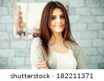 portrait of a smiling woman... | Shutterstock . vector #182211371