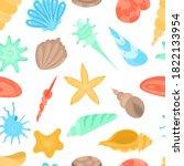 Seamless Pattern Of Seashells....
