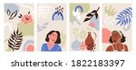 modern abstract women portrait...   Shutterstock .eps vector #1822183397