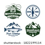 set of vector mountain and... | Shutterstock .eps vector #1822199114