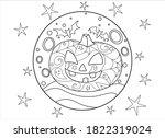 halloween pumpkin and bats on... | Shutterstock .eps vector #1822319024