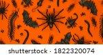 Black Halloween creepy crawly bugs and spiders on orange background