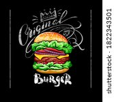 poster with burger on black... | Shutterstock .eps vector #1822343501