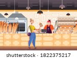 friendly saleswoman working and ... | Shutterstock .eps vector #1822375217