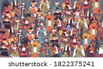 mix race people in different... | Shutterstock .eps vector #1822375241