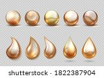 realistic oil drops. yellow... | Shutterstock .eps vector #1822387904