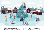 christmas market. winter... | Shutterstock .eps vector #1822387991