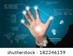 hand of business man touch on... | Shutterstock . vector #182246159