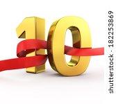 golden number ten with red... | Shutterstock . vector #182253869