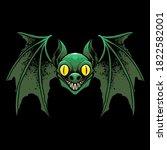 green bat halloween vector...   Shutterstock .eps vector #1822582001