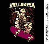 halloween skateboarding mummy...   Shutterstock .eps vector #1822582037