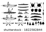 set of vector kayaking and... | Shutterstock .eps vector #1822582844