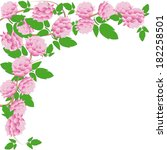 frame of pink peonys on white... | Shutterstock .eps vector #182258501