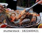 shrimp grilled bbq seafood on...   Shutterstock . vector #1822600421