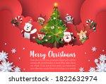 origami paper art of christmas... | Shutterstock .eps vector #1822632974