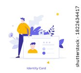 man holding id  name tag  badge.... | Shutterstock .eps vector #1822634417