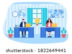two employees or business... | Shutterstock .eps vector #1822649441