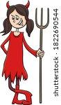 Cartoon Illustration Of Girl In ...
