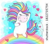 cute white unicorn with rainbow ... | Shutterstock .eps vector #1822735754
