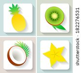 flat design fruit icons. set of ... | Shutterstock .eps vector #182276531