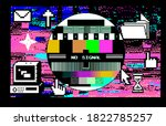 glitched screen with random...   Shutterstock .eps vector #1822785257