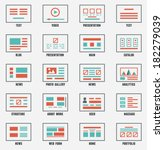 Vector set of sitemaps symbols for webpage. Web design and interface - vector icons  | Shutterstock vector #182279039