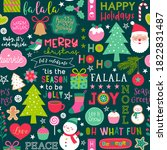 cute christmas elements and... | Shutterstock .eps vector #1822831487