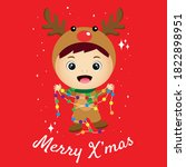 merry christmas greeting card... | Shutterstock .eps vector #1822898951