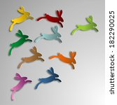 jumping colorful rabbits | Shutterstock . vector #182290025