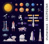 space objects collection  solar ... | Shutterstock .eps vector #1822931564