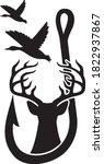 duck  deer and hook  hunting...   Shutterstock .eps vector #1822937867