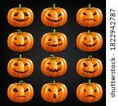 big set pumpkins isolated black ... | Shutterstock .eps vector #1822942787